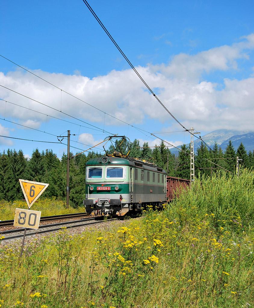 Lokomotiva 183 028-0, postrk / nákladný Pn, Štrba – Štrba zastávka, 10.8.2008 9:30 - Trainweb