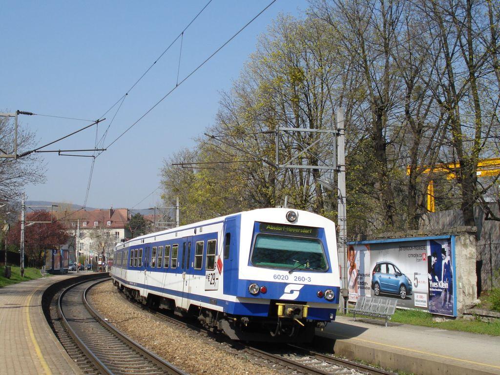 Lokomotiva 6020 260-3, linka S 15  (Wien-Hütteldorf – Wien-Meidling – Wien Südbf. – Wien-Floridsdorf – Absdorf-Hippersdorf)), Wien-Speising, 3.4.2007 10:41 - Trainweb