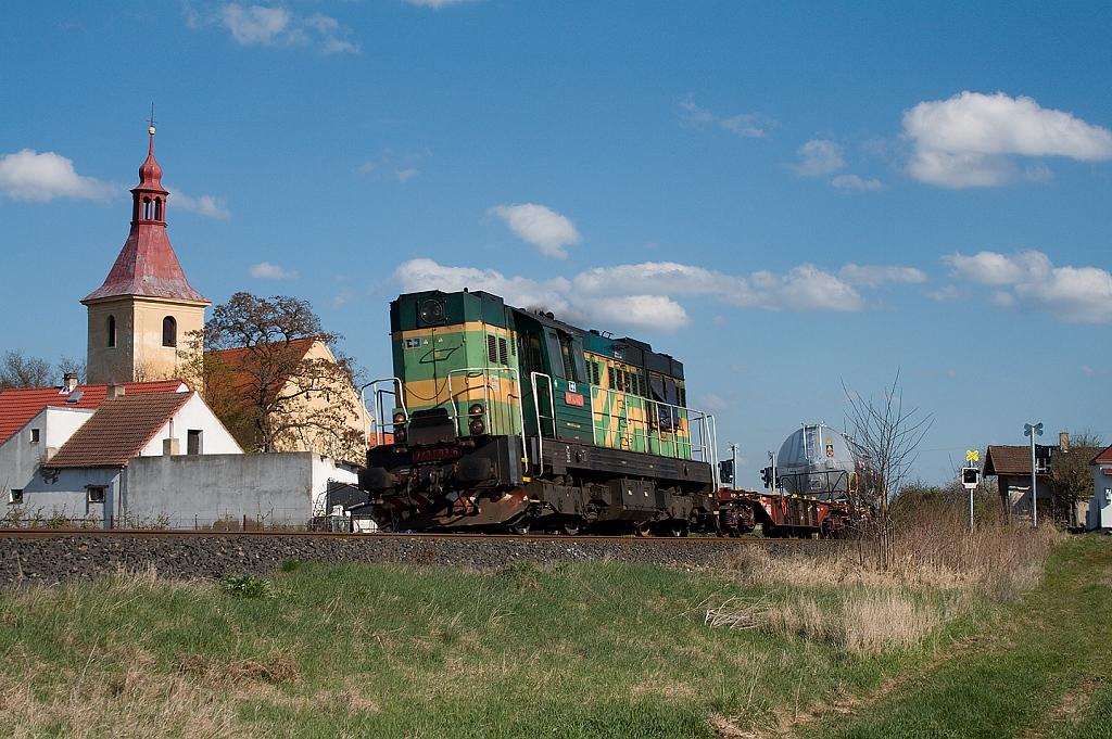 Lokomotiva 743 003-6, Mn 86500  (Louny – Obrnice – Most), Břvany, 25.4.2012 16:51 - Trainweb