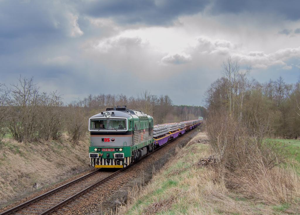 Lokomotiva 753 197-3, Pn 58014, Veselí nad Lužnicí, 19.4.2021 14:16 - Trainweb