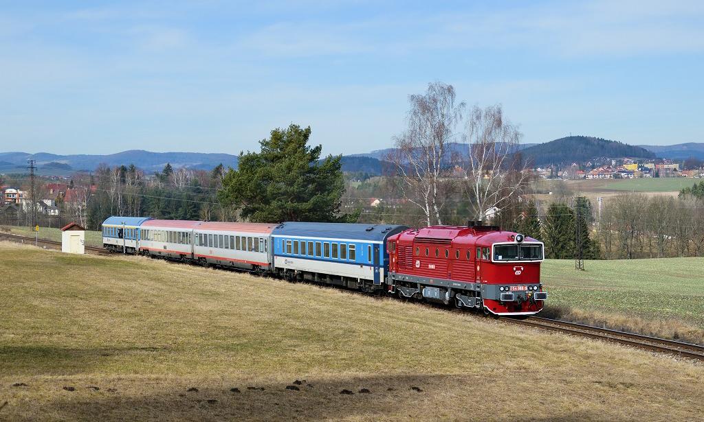 Lokomotiva 754 066-9, Ex 531 Jižní expres, Holubov - Třísov, 11.3.2018 11:42 - Trainweb