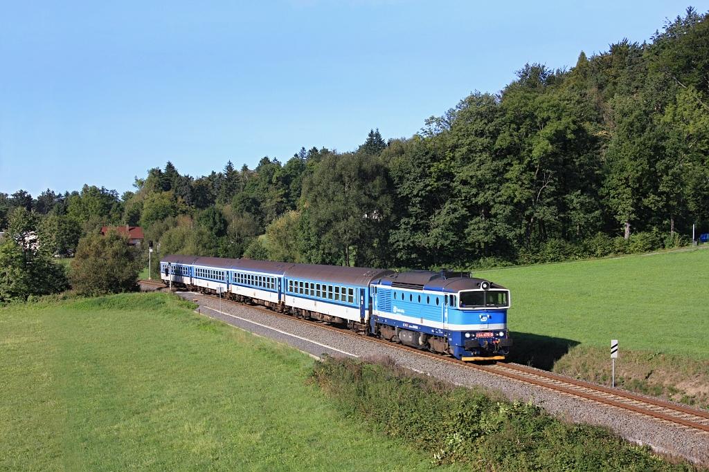 Lokomotiva 754 076-8, Os 3127 (Frenštát pod Radhoštěm město – Frýdek-Místek – Ostrava), Kunčice pod Ondřejníkem – Čeladná, 15.9.2019 9:03 - Trainweb