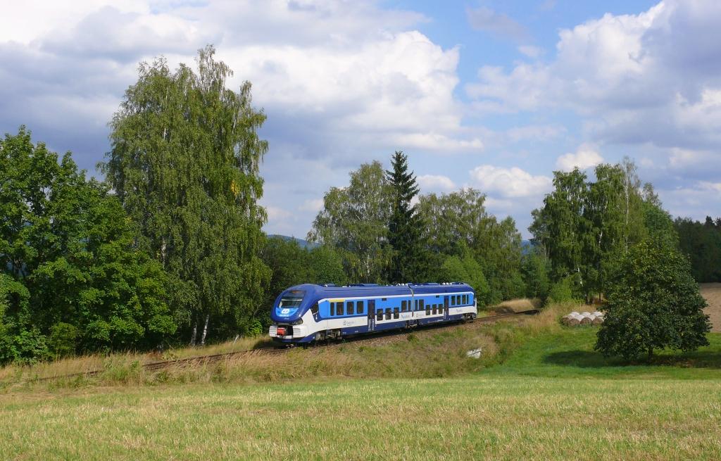 Motorový vůz 844 031-5, Ex 11815 Koleta (Broumov - Starkoč - Hradec Králové), Březová u Broumova – Bohdašín, 8.9.2018 13:57 - Trainweb