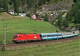 "Lokomotiva 1116 103-1, EC 87 ""Tiepolo""  (München – Kufstein  – Innsbruck – Brennero – Bolzano – Verona – Venezia), St.Jodok  (Rakousko), 6.7.2005 13:54 - Trainweb"
