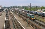 Lokomotiva ЧМЭ3-5152, posun na normálním rozchodu, Čop (Чоп), 8.9.2019 12:21 - Trainweb