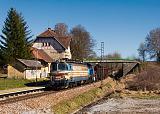 Lokomotiva 340 062-9 + 709 002-0, Pn 45514  (Schwarzenau – Gmünd NÖ – České Velenice – České Budějovice), Trocnov, 28.3.2017 15:53 - Trainweb