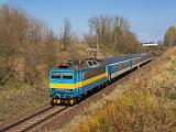 """Lokomotiva 363 078-7, R 711 """"Nežárka""""  (Praha – Tábor – České Budějovice), Ševětín – Chotýčany, 9.4.2017 13:33 - Trainweb"""