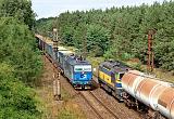 Lokomotiva 372 007-5 + 753 704-6, NEx 48321 (Rostock – Děčín – Nymburk – H.Brod – Brno dolní n.) + Rn 59660 (Bratislava - Brno – Č.Třebová – Kolín – Nymburk), Velký Osek – Veltruby, 7.9.2012 13:44 - Trainweb