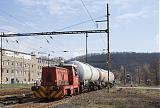 Lokomotiva 703 569-4, posun na vlečku Lybar Velvěty, Úpořiny, 6.4.2010 10:12 - Trainweb