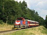 Lokomotiva 714 221-9, Os 4844  (Brno – Zastávka u Brna), Střelice – Omice, 29.6.2011 17:31 - Trainweb