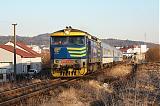 Lokomotiva 749 039-4, R 1253  (České Budějovice – Protivín – Písek – Příbram – Zdice – Beroun – Praha), Písek zastávka – Písek-Dobešice, 9.2.2011 16:09 - Trainweb