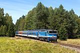 """Lokomotiva 754 015-6, Rx 632 """"František Seidel"""" (Nové Údolí - Horní Planá - Český Krumlov), Pěkná - Ovesná, 17.8.2017 12:52 - Trainweb"""