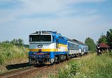 Lokomotiva 754 024-8, Os 8707 (Veselí nad Lužnicí-České Velenice), Lužnice-Třeboň, 19.6.2019 10:00 - Trainweb