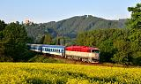 """Lokomotiva 754 061-0, R 936 """"Hradečan""""  (Letohrad – Týniště nad Orlicí – Hradec Králové – Nymburk – Praha), Potštejn, 13.6.2020 6:03 - Trainweb"""