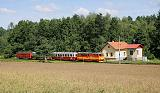 Lokomotiva T 47.021, Os 252  (Jindřichův Hradec – Nová Bystřice), Jindřichův Hradec, odbočka Dolní Skrýchov, 23.7.2012 10:38 - Trainweb