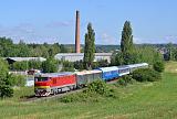 """Lokomotiva T 478.2069, zvl. R 11629 """"Cykloexpres Milešovka""""  (Plasy – Plzeň – Praha – Mladá Boleslav – Turnov – Libuň – Jičín – Nymburk – Kolín), Třemošná – Třemošná zastávka, 18.6.2017 8:52 - Trainweb"""