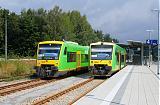 Lokomotiva VT 27 + VT 24, VT 27: RB 32425  (Špičák – Plattling) + VT 24: RB 32460  (Zwisel – Bodenmais), Zwiesel, 24.8.2008 11:59 - Trainweb