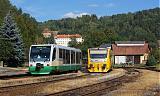 Lokomotiva VT 41 + 814 057-6, Os 7109  (Karlovy Vary dolní nádraží – Mariánské Lázně) + Os 16745  (Bečov nad Teplou – Žlutice), Bečov nad Teplou, 16.9.2011 15:32 - Trainweb