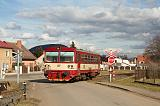 Motorový vůz 809 163-9, Os 12317  (Straškov – Vraňany), Straškov, 17.2.2014 14:13 - Trainweb