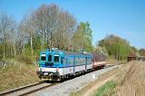 Motorový vůz 842 020-0, Os 8707  (Veselí nad Lužnicí – České Velenice), Lomnice nad Lužnicí – Lužnice, 21.4.2018 9:54 - Trainweb