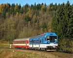 Motorový vůz 843 001-9, Os 3609  (Šumperk – Hanušovice – Lipová Lázně – Jeseník), Ostružná – Ramzová, 30.10.2010 9:41 - Trainweb