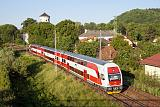 Řídící vůz 971 003-9 + 671 003-2, Os.7832  (Liptovský Mikuláš – Vrútky – Žilina – Čadca), Žilina-Budatín, 27.5.2012 6:37 - Trainweb